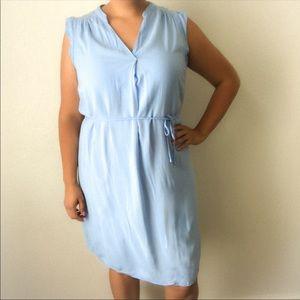 H&M Baby Blue Flutter Sleeved Tie Waist Dress 14